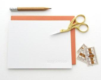 Letterpress - Blind Impression Stationery Set (century schoolbook font, lower case) - 50 qty