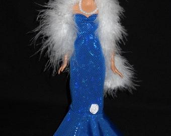 3 Piece Outfit Barbie Doll Dress Handmade Shiny Royal Blue Sweetheart Sheath Dress with Boa and Necklace