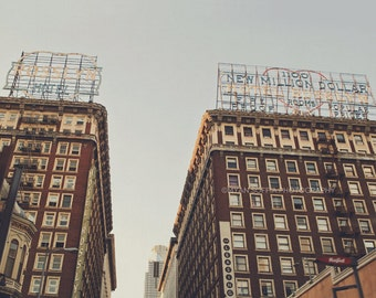photography, DTLA, Los Angeles photo, downtown, urban, architecture, Rosslyn, loft decor, brown, city street, industrial, for him, blue