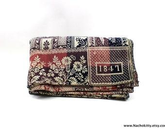 1840s Blanket Coverlet Double Woven Indigo & Rose Handmade Hand Loomed
