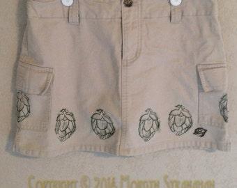Hand printed Hops Mini SkOrt (Upcycled skOrt- aka skirt shorts- size 5)