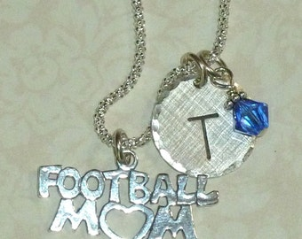 Football Mom Necklace, Football Mom Hand Stamped Sterling Silver Initial Charm Necklace - Football Necklace, Football Jewelry