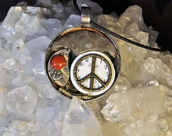 Michigan Petoskey stone steampunk art pendant peace sign necklace with vintage watch parts one of a kind steampunk style