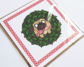 Pug Wreath Christmas Card
