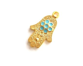 1pc Matte 22K Gold Plated Base Hand of Hamsa Blue Enameled  Pendant - 40x23mm (010-005GP)