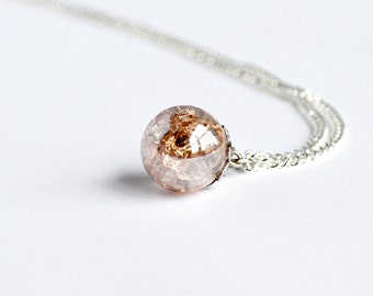Pink champagne shattered glass marble necklace on delicate silver chain
