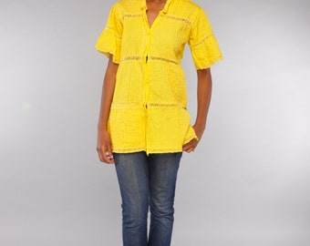 Yellow Pin Tucked Tunic Top // Button Front Mexican Crochet Shirt // Swim Cover Up
