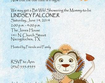 Jungle Lion Baby Shower Invitation