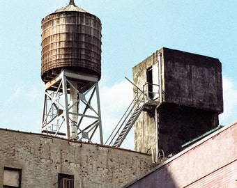 New York Water Towers 5 - New York Sights, Manhattan, Midtown, City Scenes, Urban Scenes, Square Format Signed Print