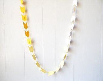 Ombre Arrow Garland / Ombre Arrow Bunting in Yellow 20 ft