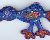 SCULPTURE, wall sculpture, soft canvas sculpture of a bird, jeweled soft sculpture, wall art