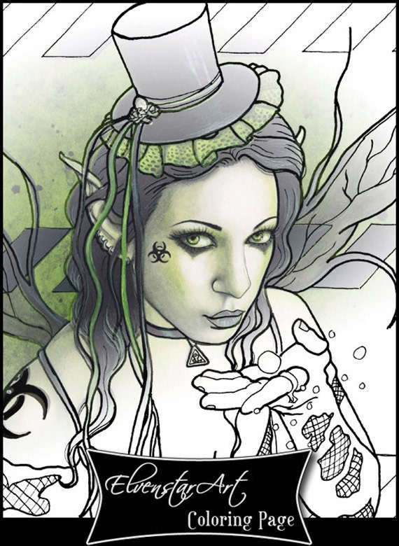 gothic fairy coloring pages - items similar to coloring page printable gothic fairy