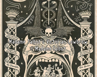 Paris Cabaret de L'Enfer Glow in the Dark Devil Gothic Lowbrow Poster (Cabaret of Hell)