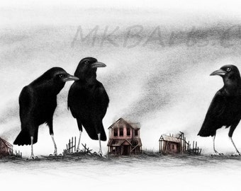Crows Know (you can never go home) - 43 x 27 inch framed original drawing