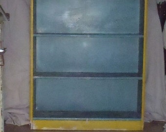 Vintage Primitive Farmhouse Bookcase Cupboard Cabinet
