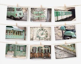 SALE! Paris Postcard Set, Green Travel Postcards 4x6 Art Print, Apartment Decor, Paris Print Gallery Wall Set,  College Apartment Dorm Decor