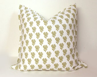 "20"" Block Print Designer Linen Pillow Cover"