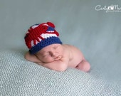 Crocheted Maine Lobster Striped Beanie Hat - Baby, Toddler, Child, Teen and Adult Sizes