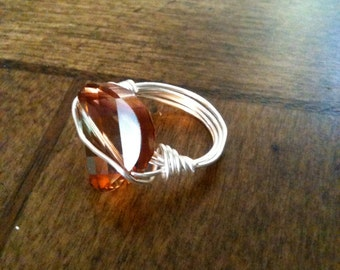 Swarovski wire wrapped ring