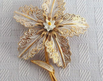 Clearance 1960's Vintage Gold Tone and White Flower Brooch Pin by Art