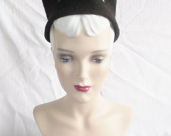 30's 40's Vintage Brown Felt Tall Hat with Jewel Trim by Katz Exclusive Millinery Size 22