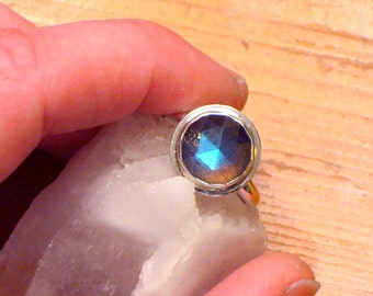rose cut labradorite and sterling ring