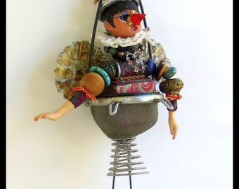 COLANDER FAIRY Assemblage Ornament by Lauretta Lowell