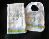 Monogrammed Bib and Burp Cloth Set - Blue and Light Green