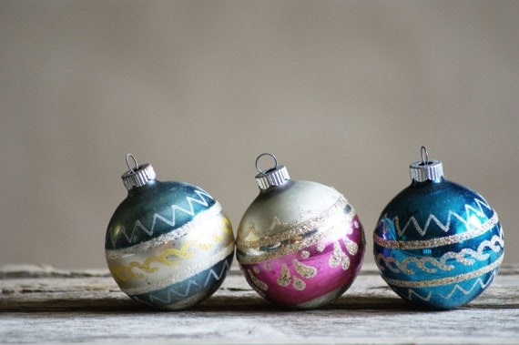Vintage shiny brite ornaments in pink and blue retro holiday