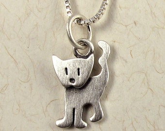 Tiny standing kitten necklace / pendant