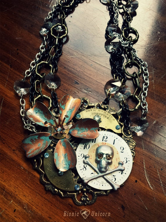 Steampunk Skull Necklace - Steampunk Halloween Skull and Crossbones with Copper Flower and Antique Watch Parts