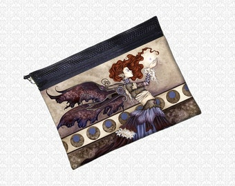 Singular Wish bag Amy Brown steampunk fairy pouch zippered wristlet, travel bag,