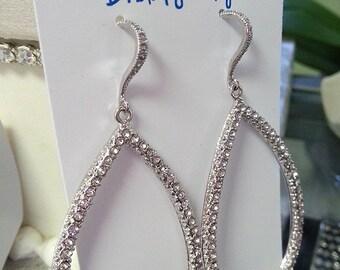 Crystal Hoop Earrings, Dangle Earrings with CZ, Wedding Jewelry, Bridal Earrings