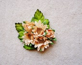 Sweet Peach Gold Daisies bunch Vintage style Millinery Flower spray Bouquet- corsage, floral shabby chic-4814 OOAK