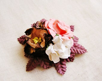 Apricot Espresso roses lotus Mixed bunch Vintage style Millinery Flower spray Bouquet- corsage, floral shabby chic 32114 OOAK
