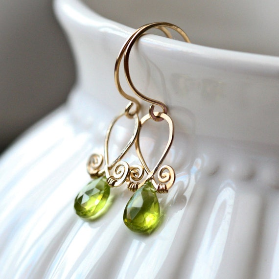 Green Peridot - Gold Filled Wrapped Briolette Dangle Earrings - August Birthstone