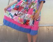Vintage Vivid Patchwork Krist Gudanson Cotton Summer Prairie Dress