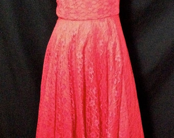 """Beautiful Vintage 1950's Red Lace Rockabilly Evening Dress VLV XS/24"""""""