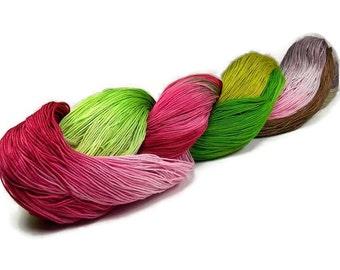150 Yards Hand Dyed Cotton Crochet Thread Size 10 3 Ply Chartreuse Green Khaki Burgundy Dusty Rose Fine Cotton Yarn