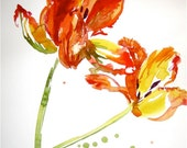 Orange Parrot Tulips- original watercolor flower painting by Gretchen Kelly