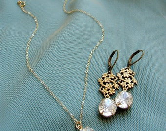 Bridesmaid jewelry set, Vintage oval rhinestone bridesmaid matching earrings bridesmaid necklace, Bridesmaid gift