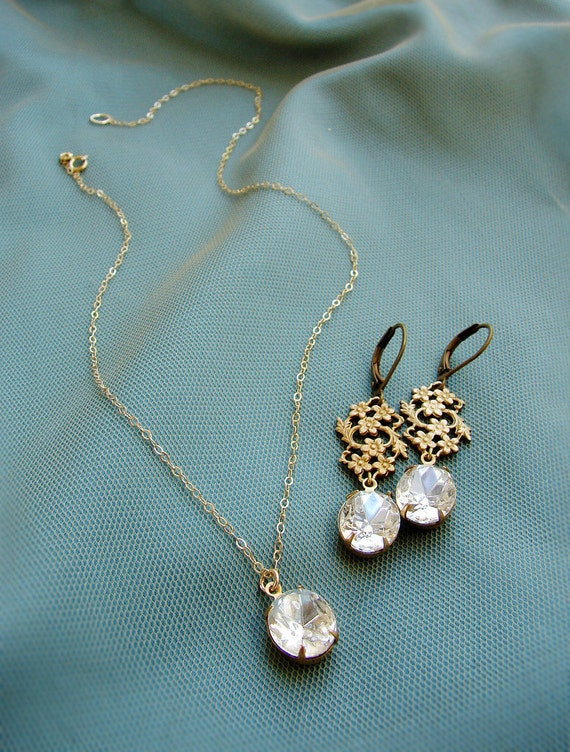 Bridesmaid jewelry set, Vintage oval rhinestone bridesmaid matching earrings bridesmaid necklace, Bridesmaid gift