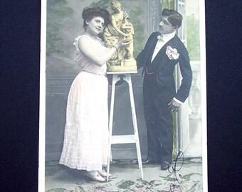 Antique French Parisian Postcard with Belgian Stamp and Postmark Paper Ephemera Scrapbooking Mixed Media Supplies Craft Supplies Wedding DIY