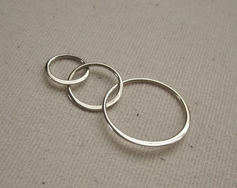 Sterling Silver Triple Circle Link Connector 36mm  - 1 piece