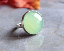 Sea foam green ring - Chalcedony Ring - Round ring - Bezel set ring - Gemstone ring -  Gifts