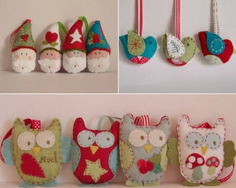 SET OF 3 PDF patterns Santas birds and owls for the tree at a discounted price