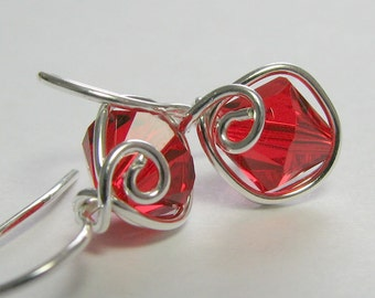 Earrings Stocking Stuffers Red Swarovski Sterling Silver One Piece Wire Wrapped Earrings
