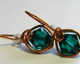 Emerald Green Swarovski Crystal Earrings Copper Wire Wrapped Dangle Earrings by Pixes Treasure Chest E406F