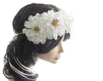 Flower head piece, White floral crown, Whimsical hair wreath, Wedding hair accessory, Flower girl headpiece