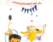 Bright Colorful Circus Sideshow Baby Mobile // Quirky Mobile for Nursery or Children's Room Art and Decor